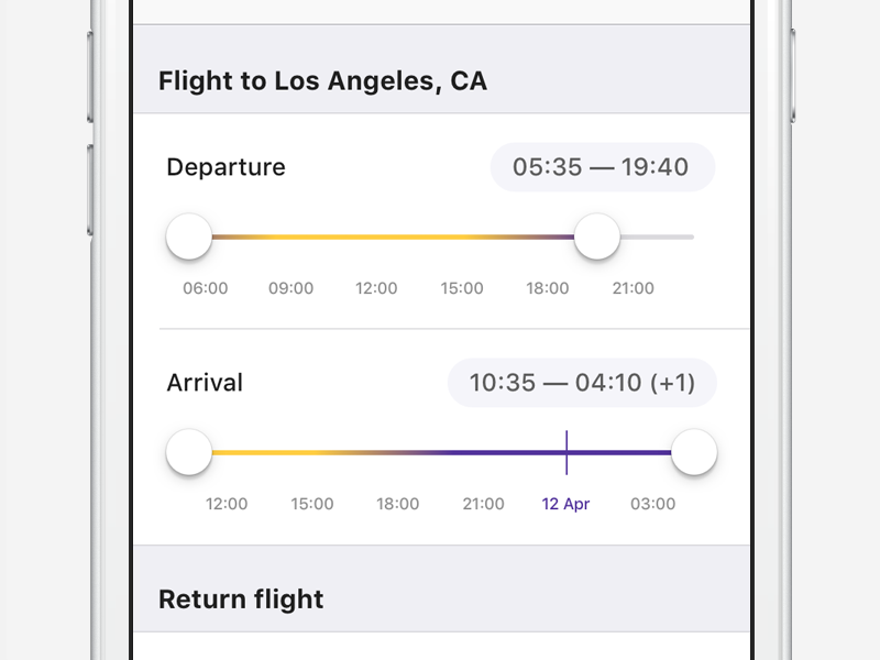 Flight time slider booking mobile app ui ios aviasales departure filter travel time flight slider