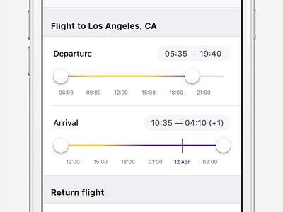 Flight time slider booking mobile app ui ios aviasales departure filter travel time flight slider