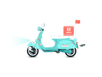 Baidu takeout motorcycle car illustration-3