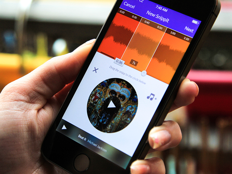 Snippit - Adding a new post post music track app ios snippit