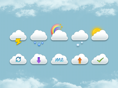 Mini Clouds Set PSD cloud set icons mini psd template download me mobile upload done finish weather sun snow flakes rain rainbow bow thunder flash sync mob up down