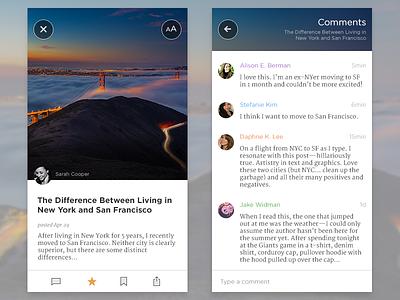 Reader UI text design appstore flat clean app ui
