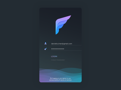 Dark Login email client mail icon pigeon wing screen ios app signup signin