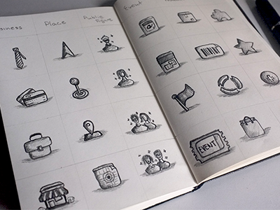 Icons sketches icon sketch paper pencil notebook