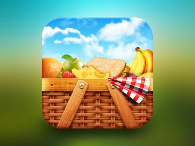 Picnic Basket picnic basket icon ios fruits food cheese sandwich