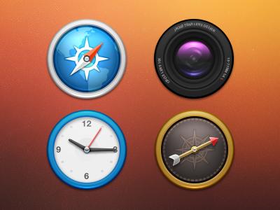 Circles icons compass safari browser tiny lens camera clocks number