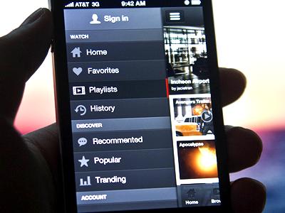 YouTube+ App User Interface 2.