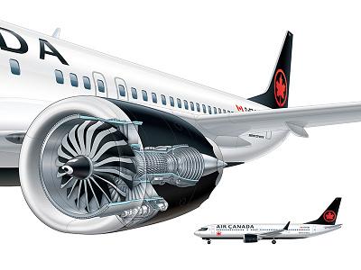 Jet Engine Cutaway rendering illustrator vector canada airliner plane jet cutaway technical illustration illustration