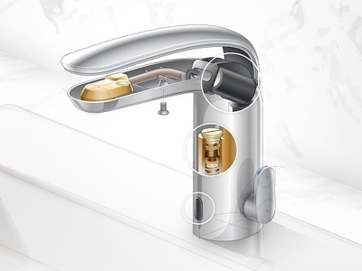 Faucet Cutaway Illustration illustrator vector sink hardware technical illustration marble chrome plumbing faucet cross-section cutaway illustration