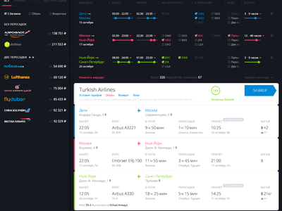 Anywayanyday results page travel animation schedule flying interface ux ui airline avia tickets filters flights