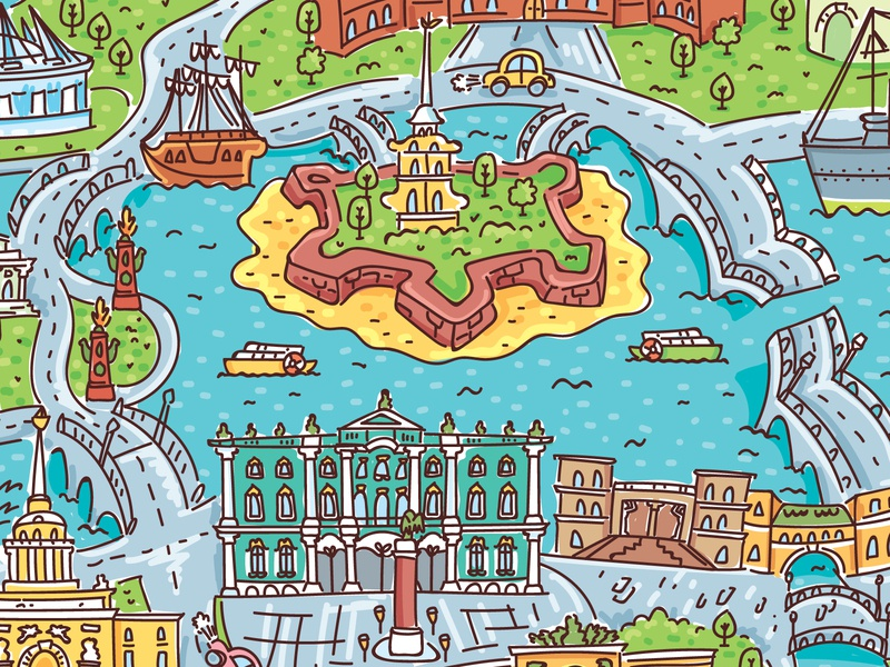 St. Petersburg map illustrator doodles detailed drawing ship river houses doodle illustration cartoon architecture map vector cute