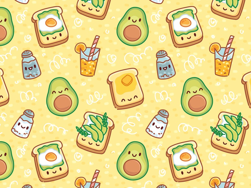 Avocado pattern 🥑🥑🥑 pattern illustration avocado toast drawing dog smoothie avocado details elements seamless patterns pattern art pattern design pattern doodle vector cute