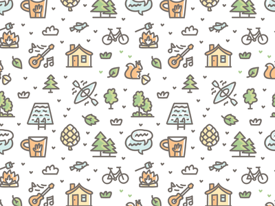 Kids Camping pattern 🏕 cute icons branding cartoon doodle vector design pattern illustration pattern design pattern art illustration pattern