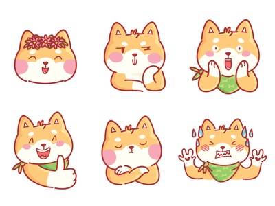 Shiba Inu! animal kawaii shibainu dog illustrations ios stickers cartoon doodle vector character cute