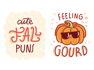 Fall Puns 🍁 leaves leaf love design autum puns fall vectors illustration stickers cartoon doodle vector character cute