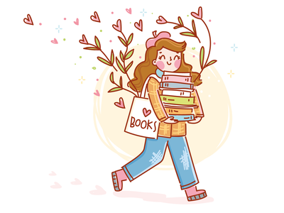 In love with... books ❤️ sparks cute illustration vectors reading kawaii drawing vectorart illustration sticker people girl hearts love book cartoon doodle vector character cute