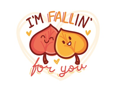 🍁 Fall Puns Stickers 🍁 leaves love handlettering hand drawn lettering words pun ios sticker kawaii cute icons illustrations stickers cartoon doodle vector character autumn fall