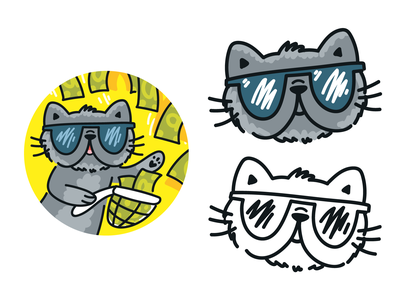 Cat 💵 Invest money investment dollar grey pet logo nice animal kitty character development avatar kawaii invest investments cat cartoon doodle vector character cute