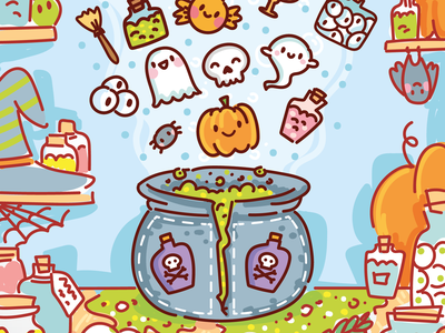 🎃 Halloween Game app design match game gaming drawing 2d art children game art gaming art witch pumpkin halloween cartoon doodle vector character cute game design kids game art 2d game art games game art