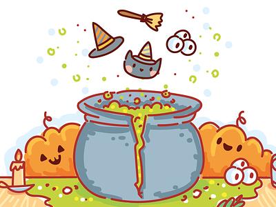🎃 Halloween Game 🎃 game illustration illustration witch pumpkin halloween app design game design gaming art 2d game art game game art cartoon doodle vector character cute
