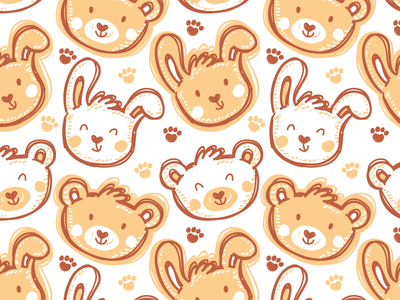 Kids pattern bib paw animals children kids bear bunny illustrations cute vector pattern seamless pattern