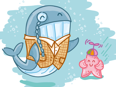 Mr. Whale doodle cartoon animal character icons children water laugh cute star person whale