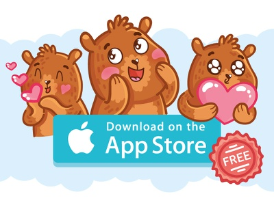Andy: cute bear stickers for iMessage doodle cartoon animal character stickers icons sticker ios laugh imessage cute bear