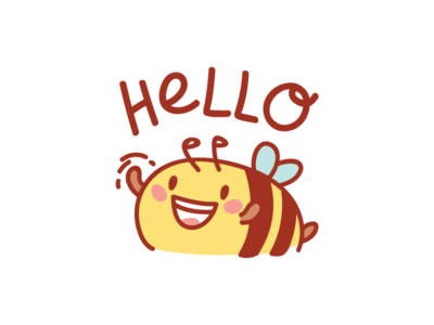 Hello! 🐝 illustration bee animal illustrations cartoon sticker doodle ios stickers vector character cute