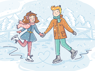 Winter date heart boy girl romantic date love people illustration doodle vector character cute