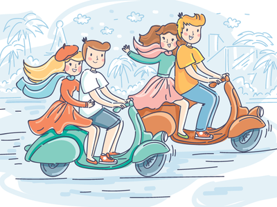 Meeting friends travel friends meet love people illustration cartoon doodle vector character cute