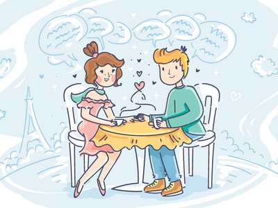 Dating heart travel romantic date love people cartoon doodle vector character illustration paris
