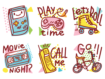📼 80s inspiration! 80s style geek game imessage oldschool 80s retro illustrations icons cartoon stickers doodle vector cute
