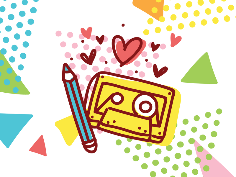 📼❤️✏️ True love! music imessage love pencil cassette retro 90s 80s style design illustrations cartoon ios stickers doodle vector character cute
