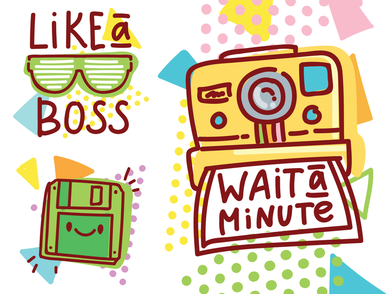 📼 80's inspiration! floppy imessage cassette 80s style boss photo illustration illustrations cartoon stickers vector character cute