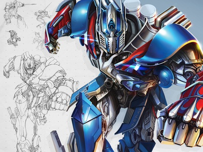 Optimus Prime robot sketch character illustration rebrand brand development optimus prime autobot transformers