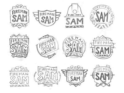 Fireman Sam Logo Sketches logo development fireman sam fireman fire entertainment badge branding logo