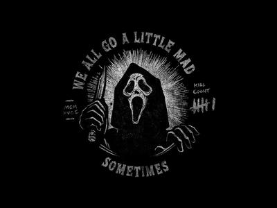 Ghostface hand drawn type illustration movie horror scream ghostface licensing art halloween