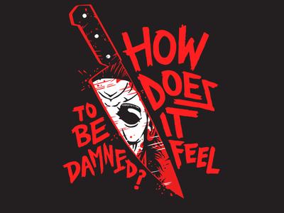 Michael Myers - Halloween hand drawn type illustration movie horror michael myers licensing art halloween