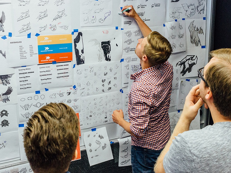 Rough Concepts teamwork rhino ideation rough concepts sketches brand development branding