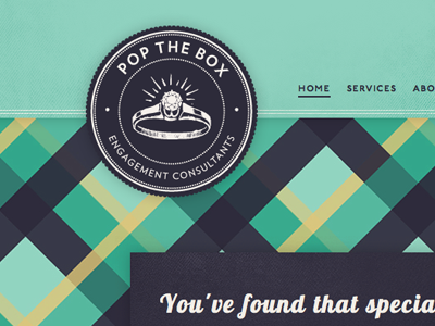 Pop The Box wedding engagement consultant vintage lobster blue branding website logo plaid
