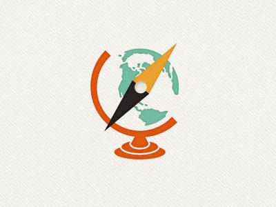 Traveler's Branding globe compass map earth retro texture logo branding travel