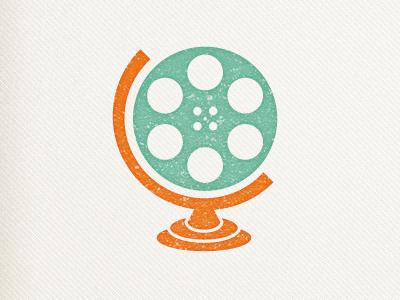 Film globe film reel earth retro texture logo branding travel videographer