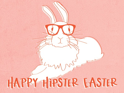 Happy Hipster Easter greeting card