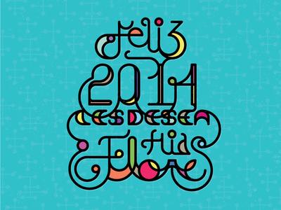 Feliz 2014 postcard happy new year