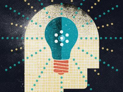Brain brain blue orange head illustration