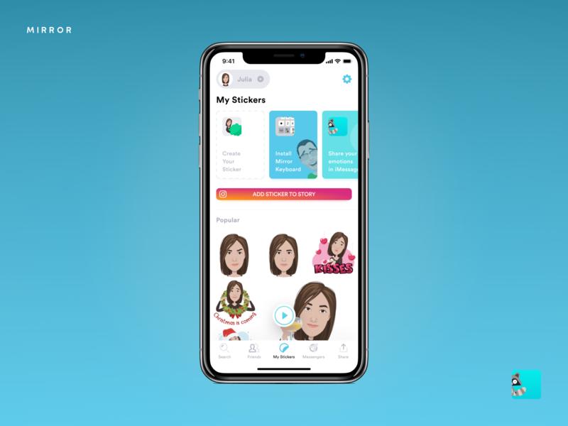 My Stickers – Mirror Emoji Keyboard cartoon interaction mirror keyboard emoji stickers concept design app ios