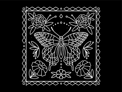 Butterfly Flower daisies bw insects flash tattoo flash tattoo traditional illustrator tile pattern floral roses line art black and white illustration florals flower butterfly