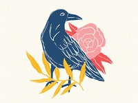 Crow and floral