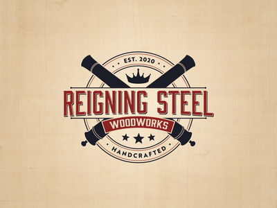 Reigning Steel Woodworks logo adobe illustrator graphic design badge badge logo logo