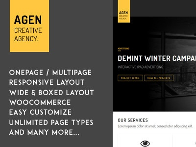 AGEN - One Page / Multi Page Responsive WP Theme one page multipurpose multi page modern html5 fullscreen css3 corporate company clean business agency
